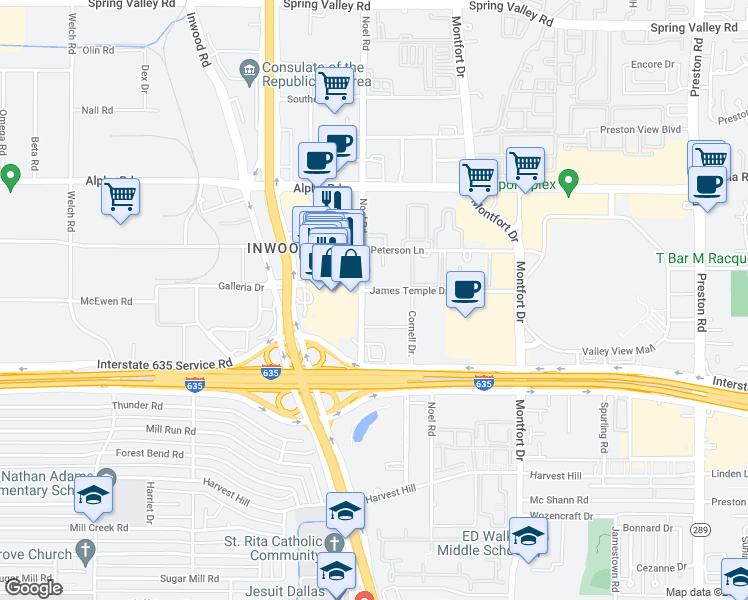 map of restaurants, bars, coffee shops, grocery stores, and more near 13290 Noel Road in Dallas