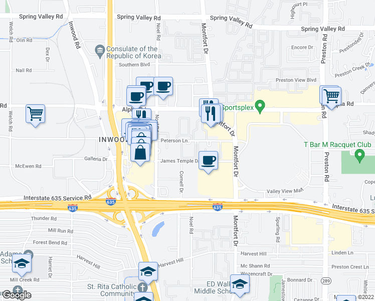 map of restaurants, bars, coffee shops, grocery stores, and more near 4 James Temple Drive in Dallas