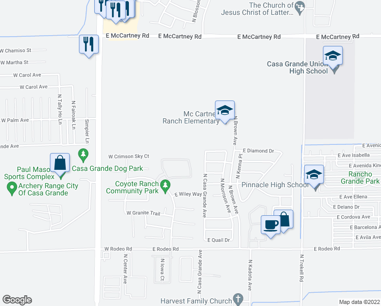 map of restaurants, bars, coffee shops, grocery stores, and more near 238 East Cornerstone Circle in Casa Grande