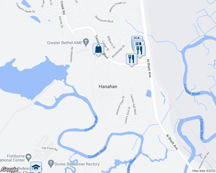 map of restaurants, bars, coffee shops, grocery stores, and more near 8199 Rivers Avenue in North Charleston