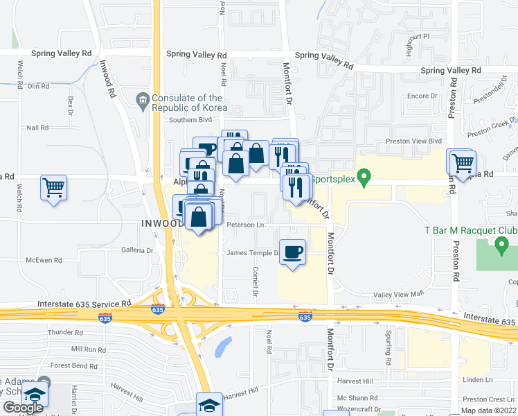 map of restaurants, bars, coffee shops, grocery stores, and more near 5351 Peterson Lane in Dallas