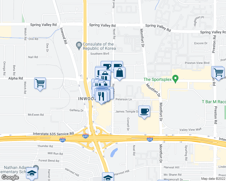 map of restaurants, bars, coffee shops, grocery stores, and more near 13402 Noel Road in Dallas