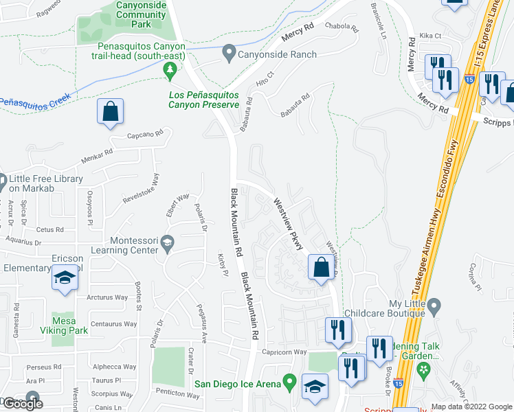 map of restaurants, bars, coffee shops, grocery stores, and more near 11760 Westview Parkway in San Diego