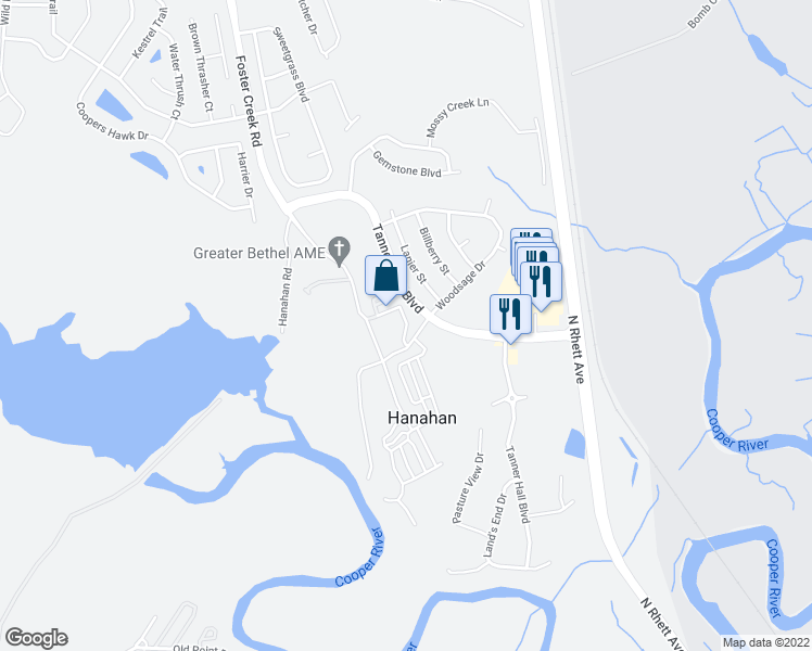 map of restaurants, bars, coffee shops, grocery stores, and more near 1002 Channel Marker Way in Hanahan
