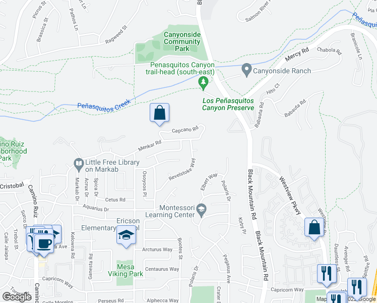 map of restaurants, bars, coffee shops, grocery stores, and more near 8952 Revelstoke Way in San Diego