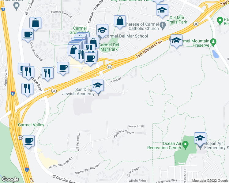 map of restaurants, bars, coffee shops, grocery stores, and more near 11772 Carmel Creek Road in San Diego