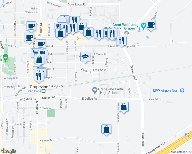 map of restaurants, bars, coffee shops, grocery stores, and more near 844 East Walnut Street in Grapevine