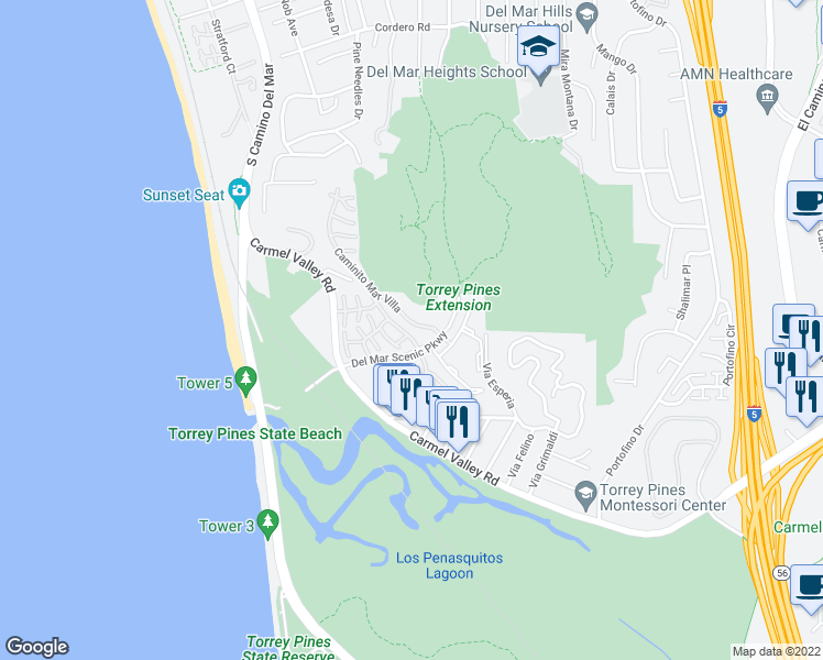map of restaurants, bars, coffee shops, grocery stores, and more near 13056 Caminito Mar Villa in Del Mar