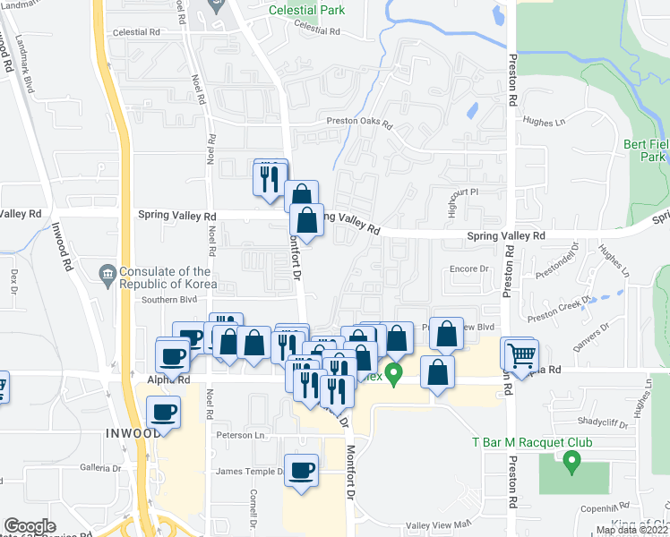 map of restaurants, bars, coffee shops, grocery stores, and more near 5616 Spring Valley Road in Dallas
