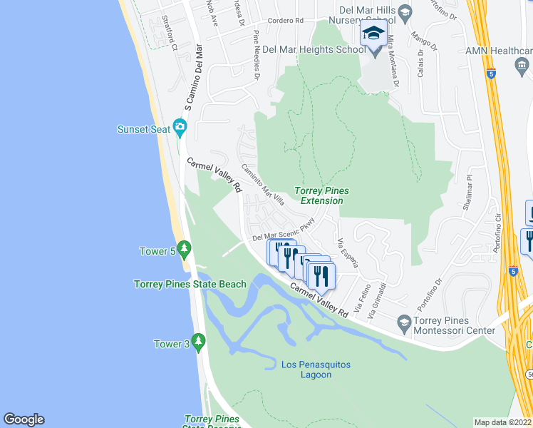 map of restaurants, bars, coffee shops, grocery stores, and more near 13022 Caminito Del Rocio in Del Mar