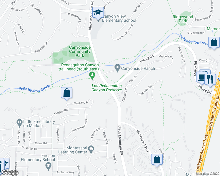 map of restaurants, bars, coffee shops, grocery stores, and more near Black Mountain Road & Mercy Road in San Diego