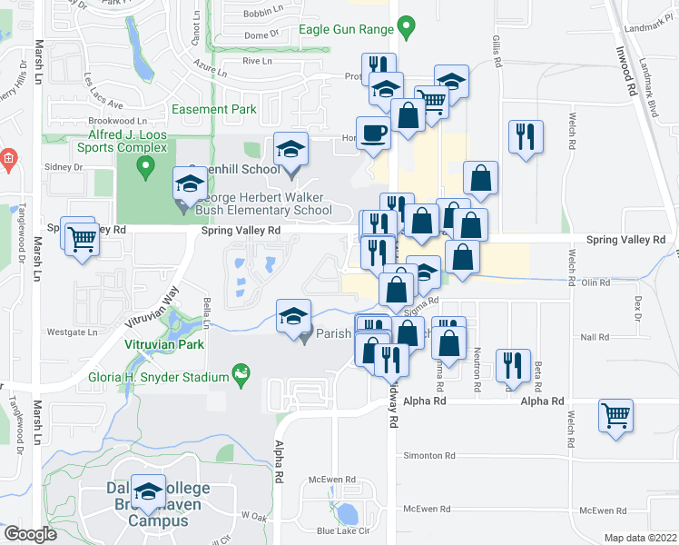 map of restaurants, bars, coffee shops, grocery stores, and more near Traffic Circle in Farmers Branch