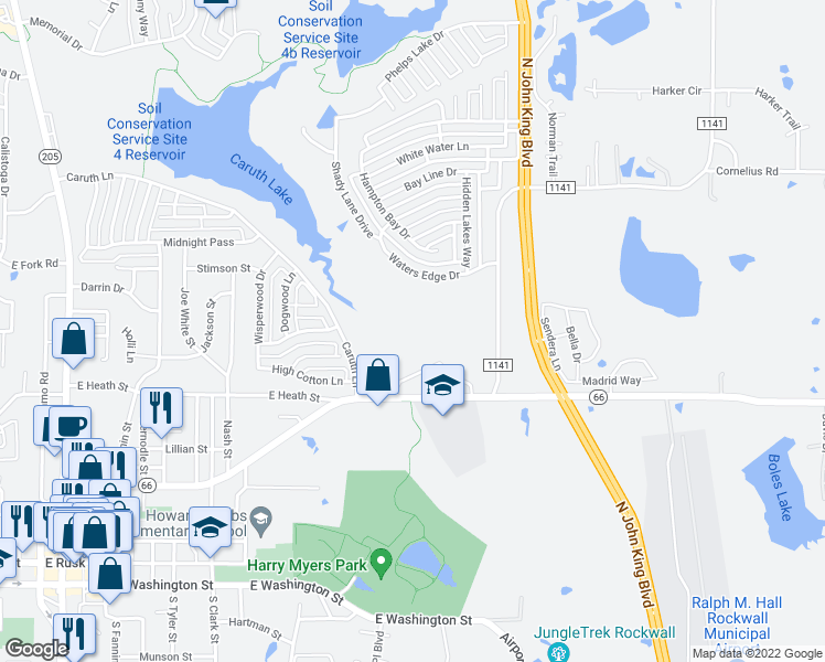 map of restaurants, bars, coffee shops, grocery stores, and more near 302 Shady Creek Lane in Rockwall