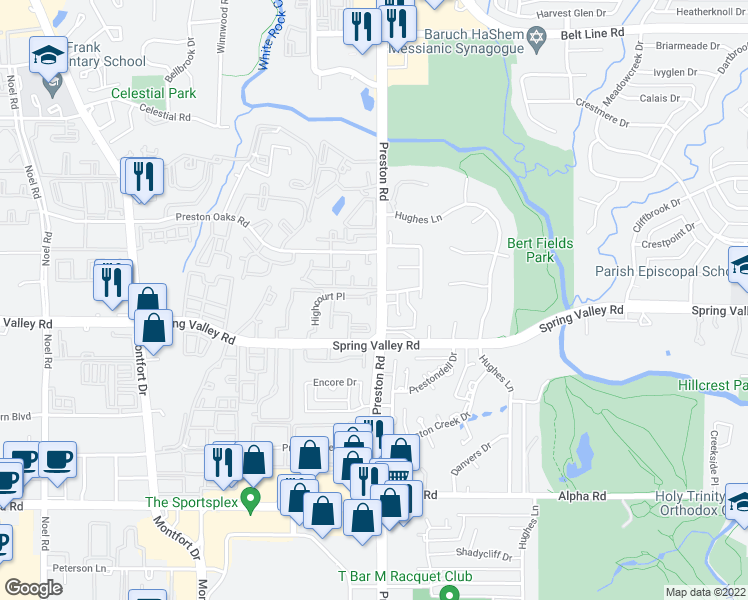 map of restaurants, bars, coffee shops, grocery stores, and more near 14041 Preston Road in Dallas
