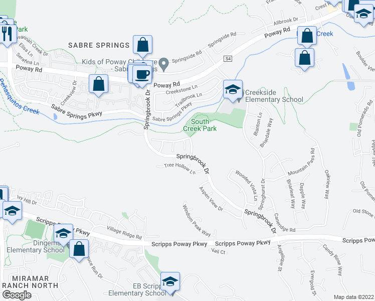 map of restaurants, bars, coffee shops, grocery stores, and more near 12213 Meadow Grass Court in San Diego