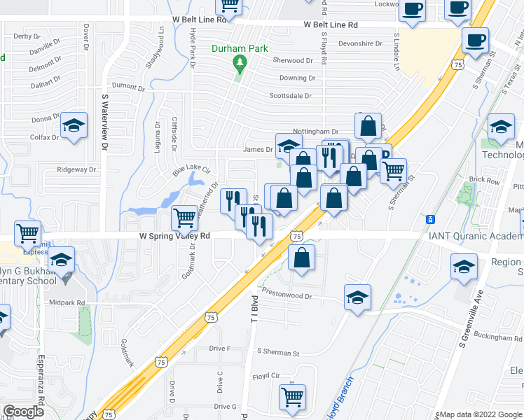 map of restaurants, bars, coffee shops, grocery stores, and more near 929 Saint Paul Drive in Richardson