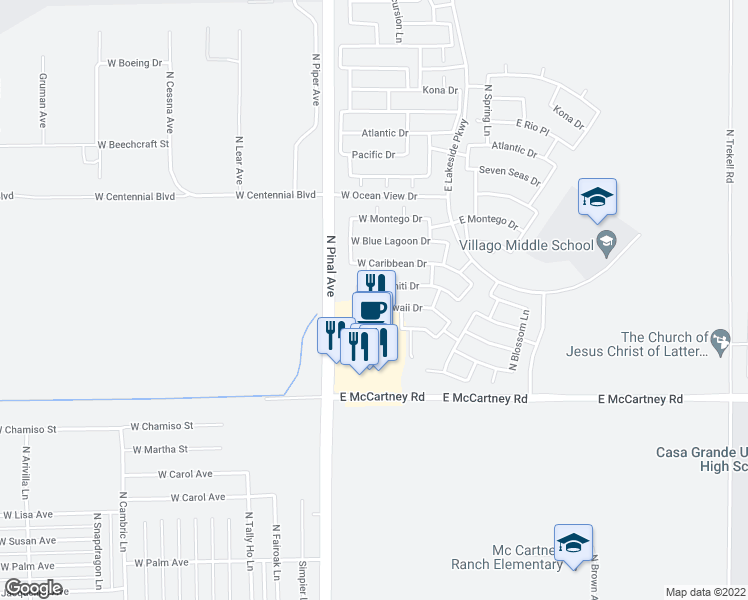 map of restaurants, bars, coffee shops, grocery stores, and more near 270 West Hawaii Drive in Casa Grande