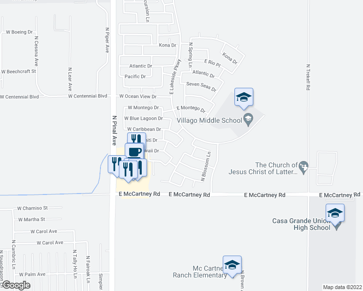 map of restaurants, bars, coffee shops, grocery stores, and more near 2904 North Summer Lane in Casa Grande