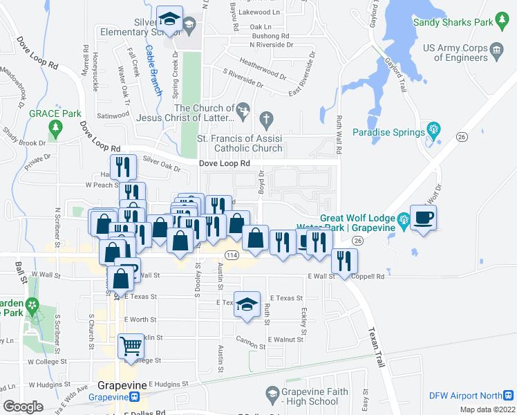 map of restaurants, bars, coffee shops, grocery stores, and more near 100-498 Boyd Drive in Grapevine