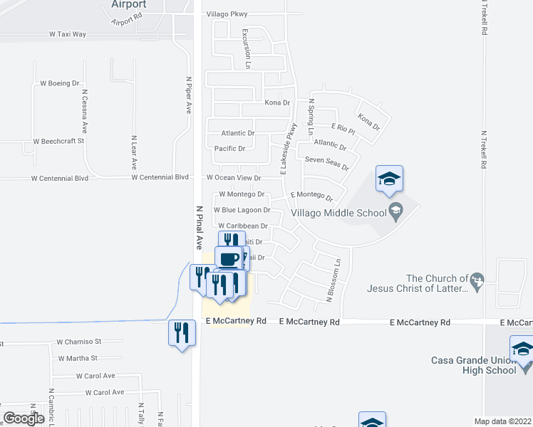 map of restaurants, bars, coffee shops, grocery stores, and more near 115 West Blue Lagoon Drive in Casa Grande