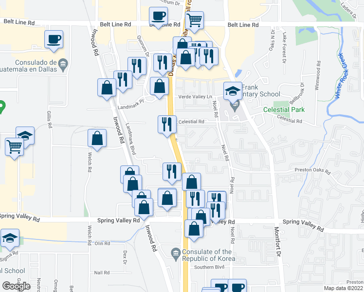 map of restaurants, bars, coffee shops, grocery stores, and more near 14400 Dallas Parkway in Dallas