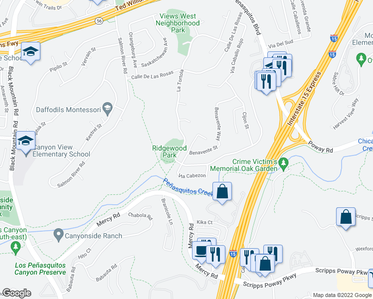 map of restaurants, bars, coffee shops, grocery stores, and more near 12566 Cabezon Place in San Diego