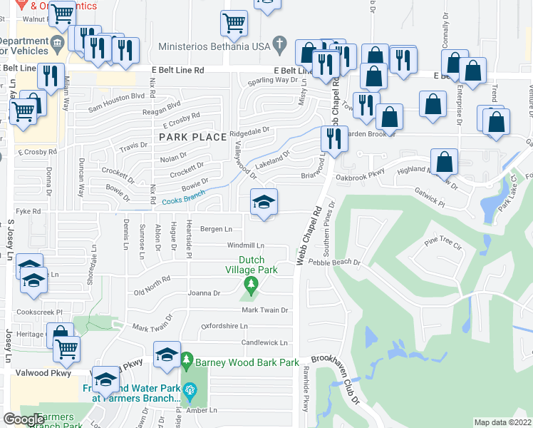 map of restaurants, bars, coffee shops, grocery stores, and more near 3030 Fyke Road in Farmers Branch