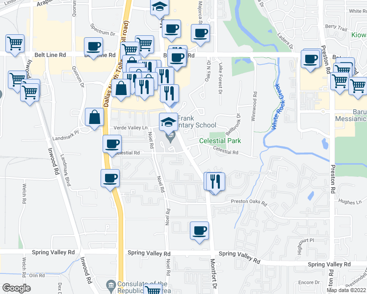map of restaurants, bars, coffee shops, grocery stores, and more near 14765 Bedivere Court in Dallas