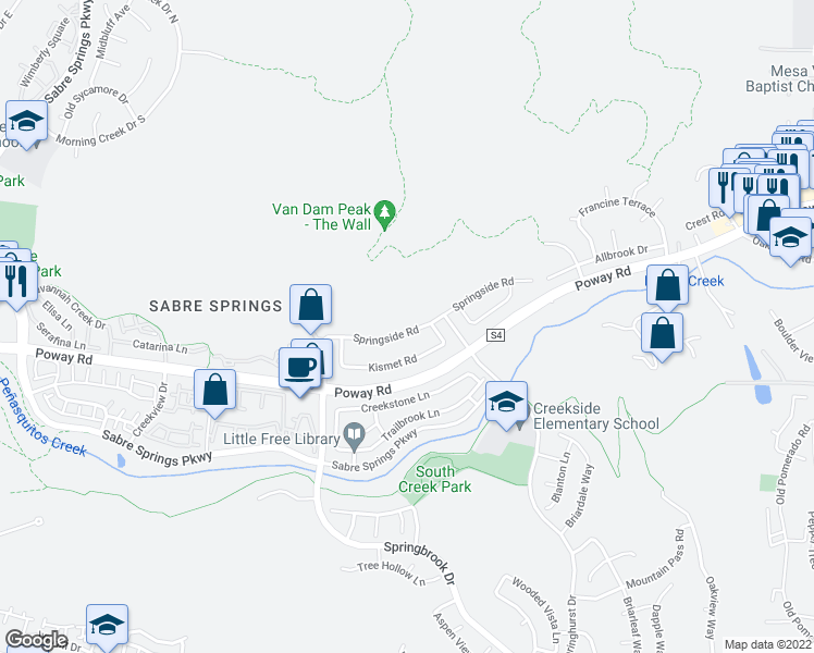 map of restaurants, bars, coffee shops, grocery stores, and more near 11746 Springside Road in San Diego