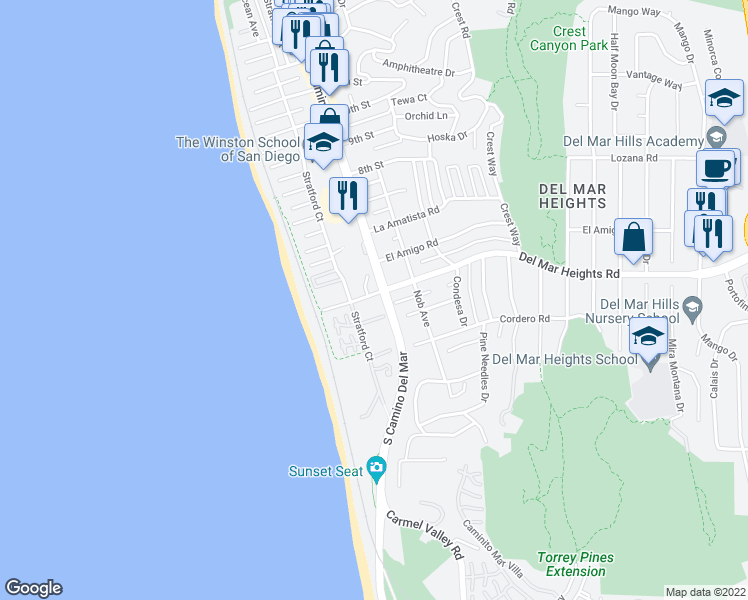 map of restaurants, bars, coffee shops, grocery stores, and more near 201 4th Street in Del Mar