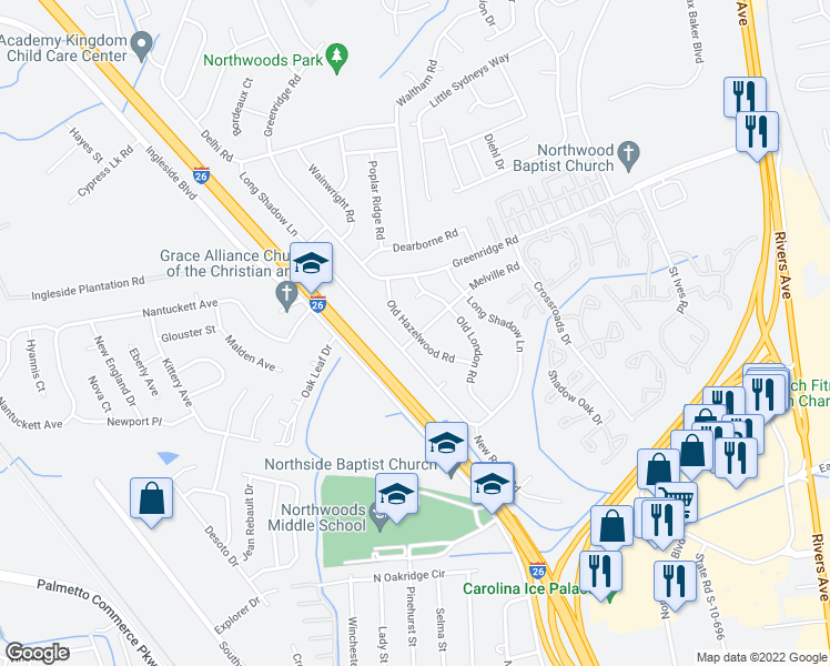 map of restaurants, bars, coffee shops, grocery stores, and more near Old Hazelwood Road in North Charleston