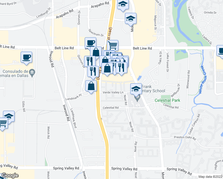 map of restaurants, bars, coffee shops, grocery stores, and more near 5151 Verde Valley Lane in Dallas