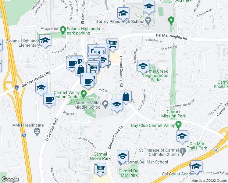 map of restaurants, bars, coffee shops, grocery stores, and more near 3754 Mykonos Lane in San Diego
