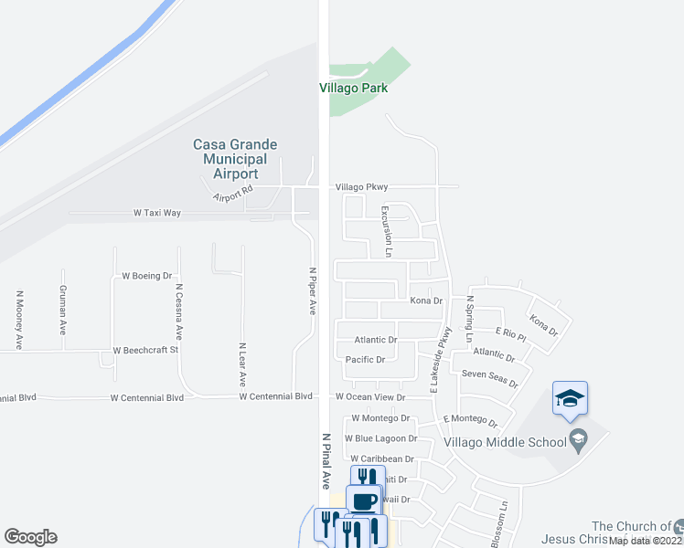 map of restaurants, bars, coffee shops, grocery stores, and more near 348 West Tropical Drive in Casa Grande