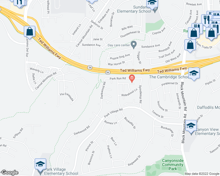 map of restaurants, bars, coffee shops, grocery stores, and more near 8546 Boothbay Place in San Diego