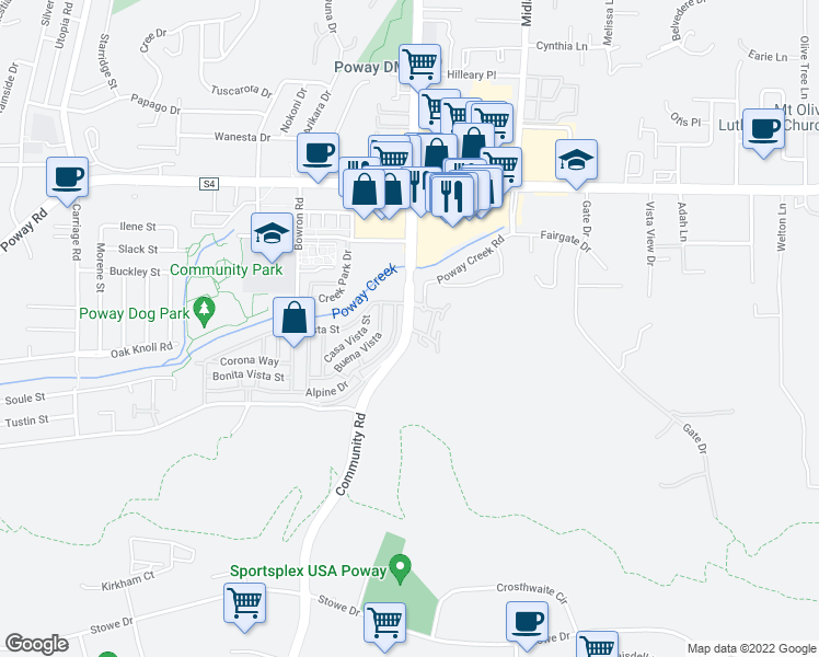 map of restaurants, bars, coffee shops, grocery stores, and more near 12979 Community Road in Poway