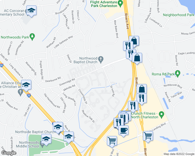 map of restaurants, bars, coffee shops, grocery stores, and more near 2225 Greenridge Road in North Charleston