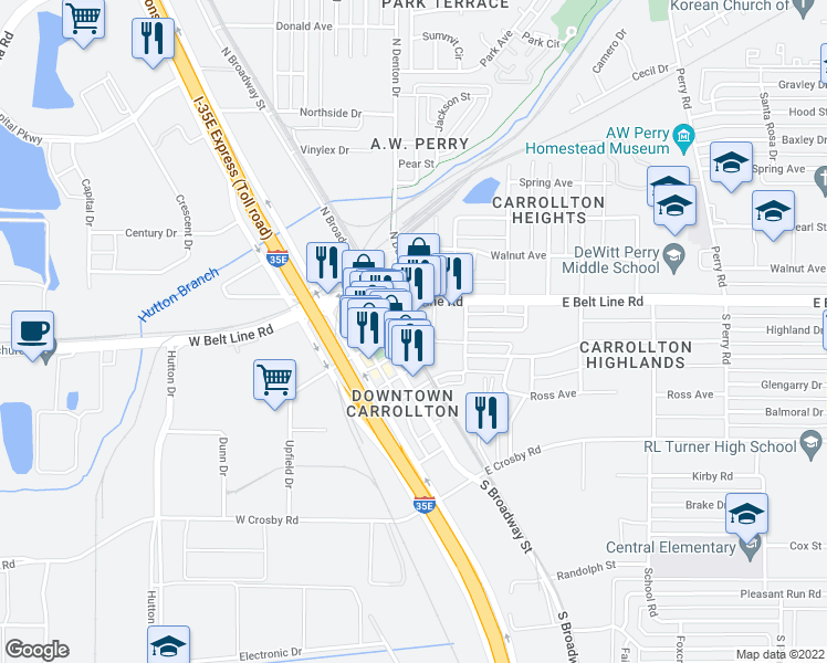 map of restaurants, bars, coffee shops, grocery stores, and more near 1111 South Main Street in Carrollton