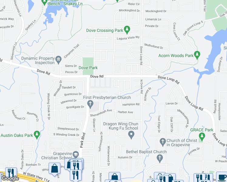 map of restaurants, bars, coffee shops, grocery stores, and more near 1526 Brookwood Drive in Grapevine