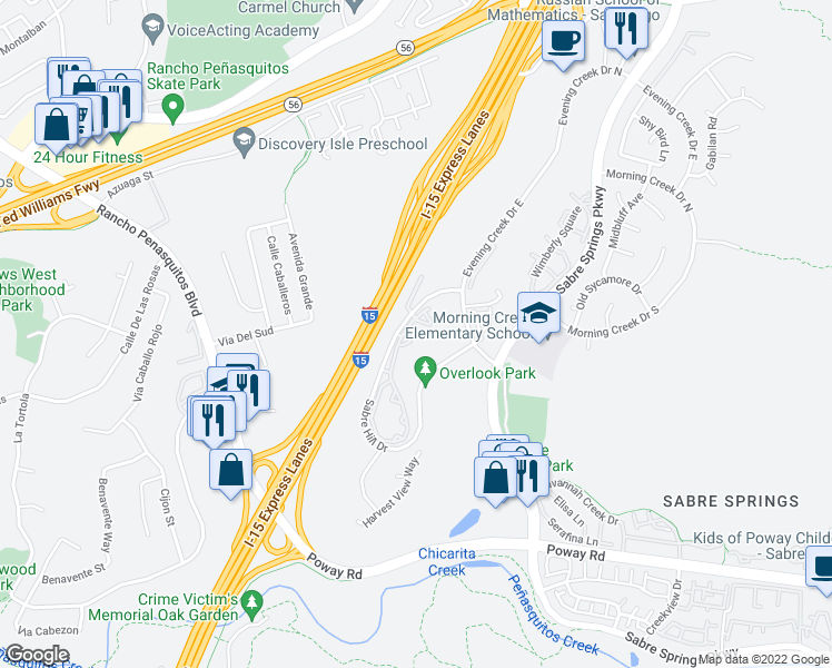 map of restaurants, bars, coffee shops, grocery stores, and more near 10868 Sabre Hill Drive in San Diego