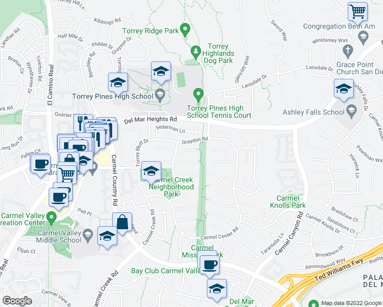 map of restaurants, bars, coffee shops, grocery stores, and more near 4267 Sturgeon Court in San Diego