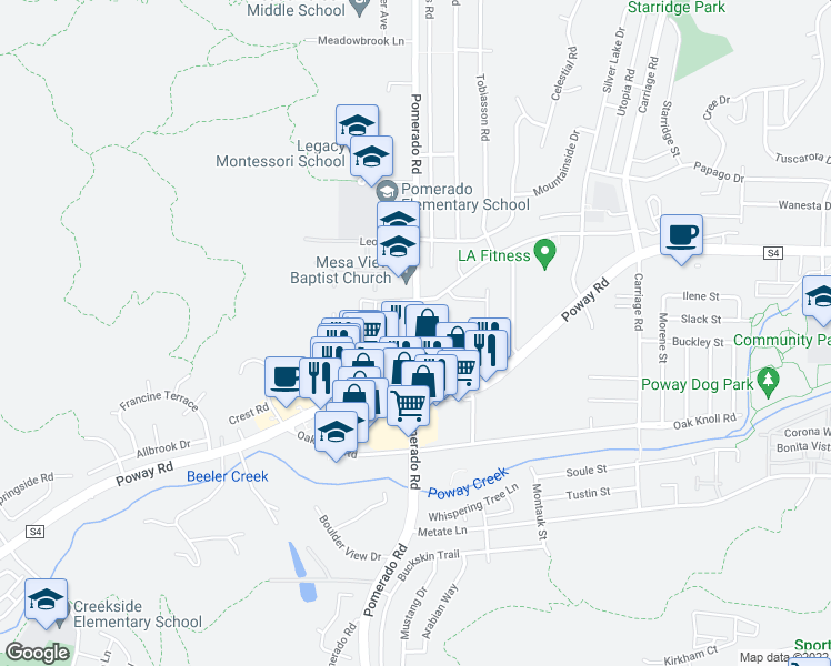 map of restaurants, bars, coffee shops, grocery stores, and more near 13108-13126 Pomerado Road in Poway