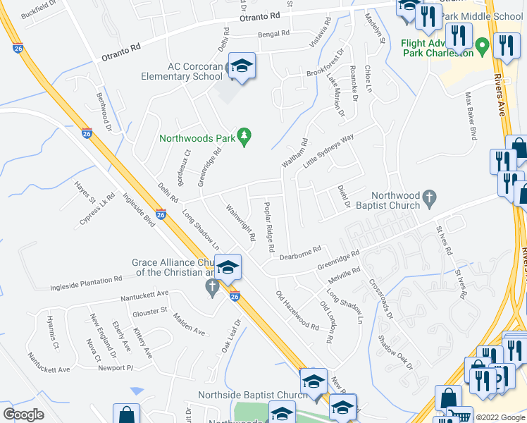 map of restaurants, bars, coffee shops, grocery stores, and more near 8165 Poplar Ridge Road in North Charleston