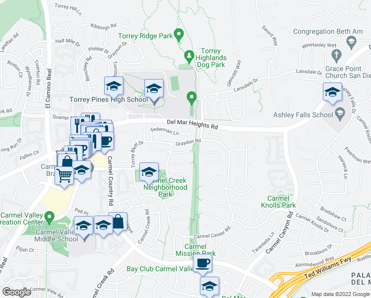 map of restaurants, bars, coffee shops, grocery stores, and more near 4268 Sturgeon Court in San Diego