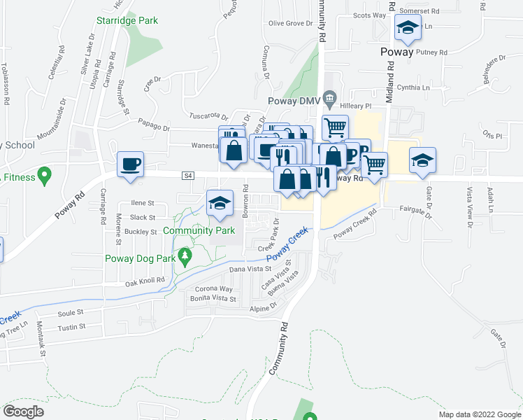 map of restaurants, bars, coffee shops, grocery stores, and more near 66 Civic Center Drive in Poway