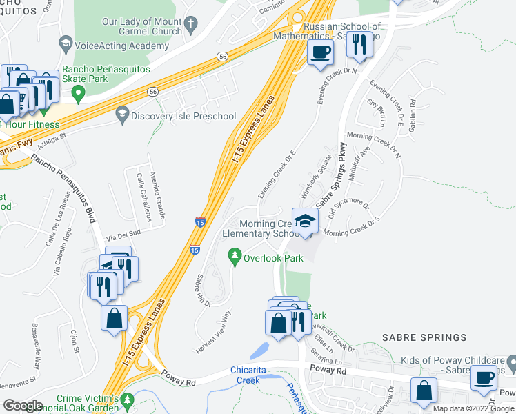 map of restaurants, bars, coffee shops, grocery stores, and more near Sabre Hill Drive & Evening Creek Drive in San Diego