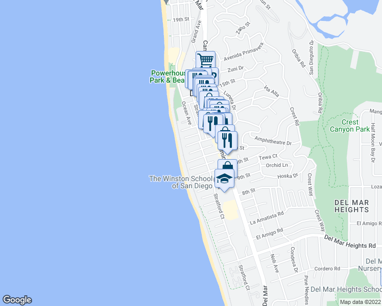 map of restaurants, bars, coffee shops, grocery stores, and more near 116 Sea Orbit Ln in Del Mar