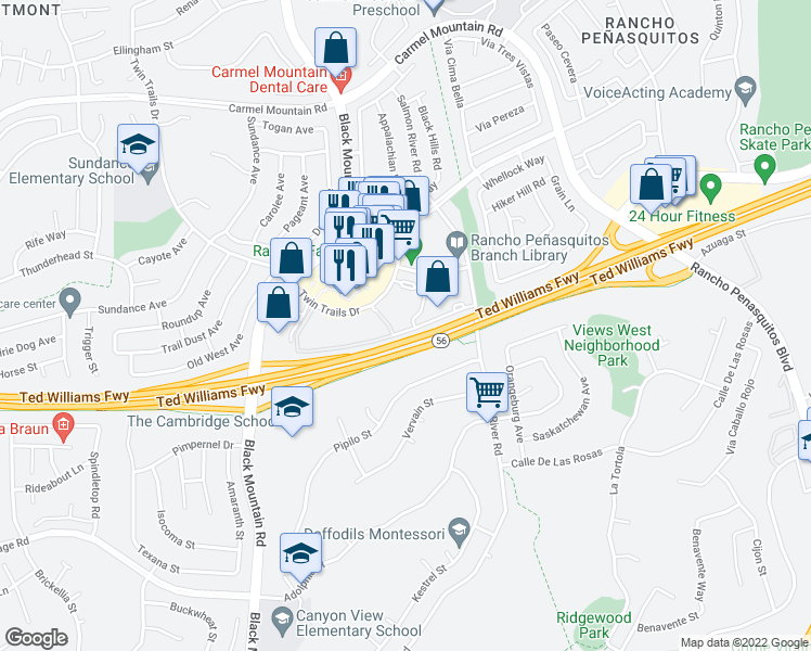 map of restaurants, bars, coffee shops, grocery stores, and more near 9418 Twin Trails Drive in San Diego