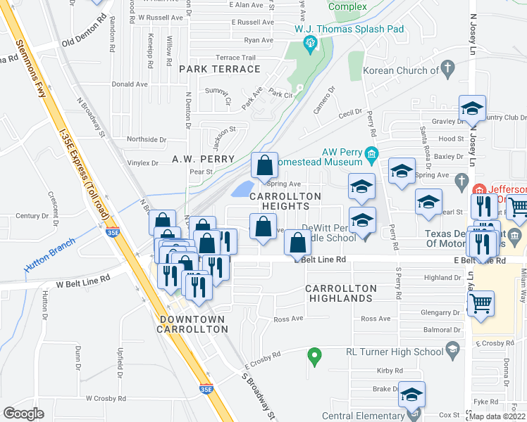 map of restaurants, bars, coffee shops, grocery stores, and more near 1401 Rosemon Avenue in Carrollton