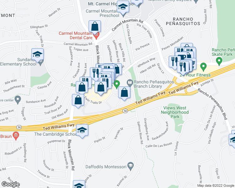 map of restaurants, bars, coffee shops, grocery stores, and more near 9419 Fairgrove Lane in San Diego